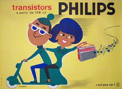 Fix-Masseau Philips Poster. I bought this vintage poster in the late nineties because it made me laugh. It looks like my wife and me.