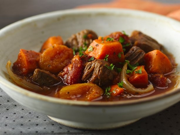 I've been looking for some good sweet potato recipes. Found one! Slow Cooker Colombian Beef and Sweet Potato Stew.