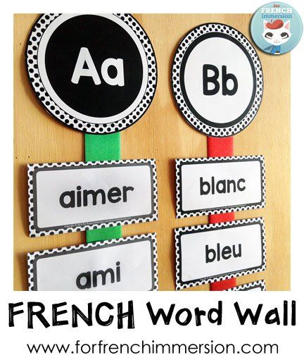 French Word Wall - use colorful ribbons to spice up a B&W word wall, like…