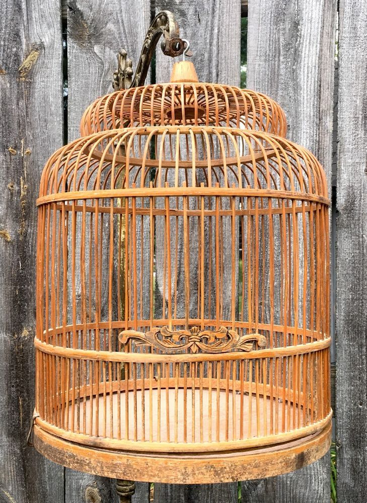 Vintage Antique Bird Cage Bamboo Carved Wood Dome Hanging