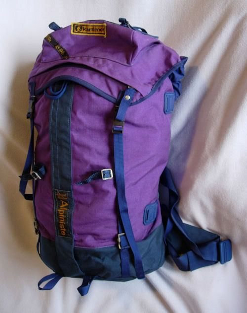 Karrimor Alpiniste. My first 'real' mountaineering rucksack. Designed by Dougal Haston around 1970ish. Except for the metal buckles (fingers kept sticking to them in sub zero temps) this was an amazing design. It even doubled as a bivy bag. Loved the colour. Loved the pack.