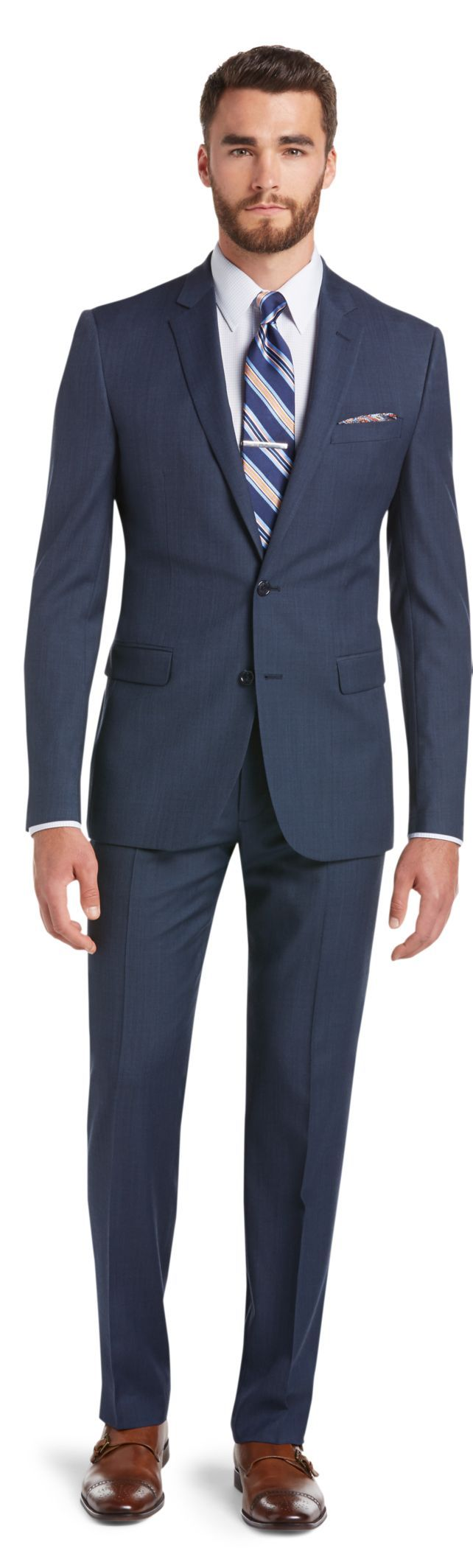 Classic Collection Slim Fit Sharkskin Suit Big and Tall