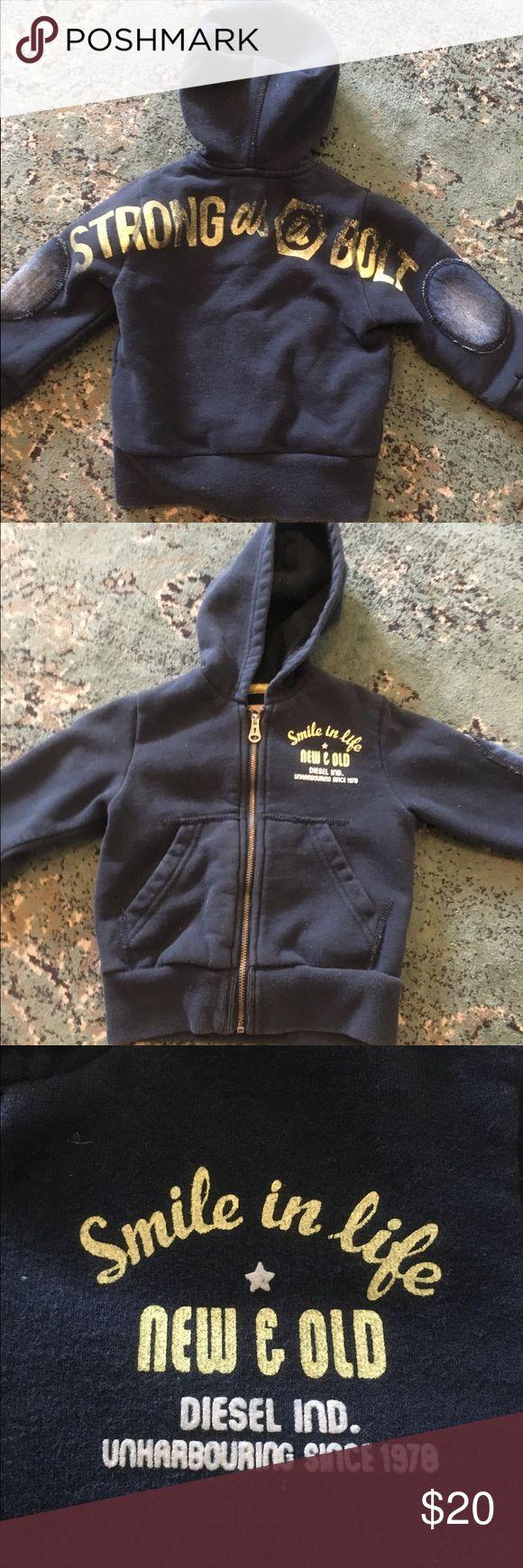 Diesel sz 18M navy hoodie Navy blue hoodie from Diesel. Elbow patches. Sz 18M Diesel Jackets & Coats