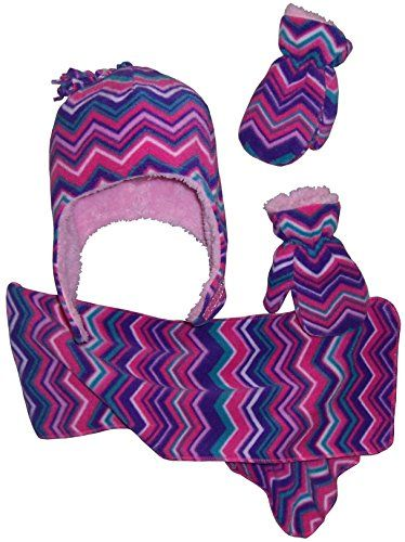 N'Ice Caps Girls Chevron Soft Sherpa Lined Hat/Scarf/Mitten Set (18-36 months, purple/fuchsia/pink/turq/white)