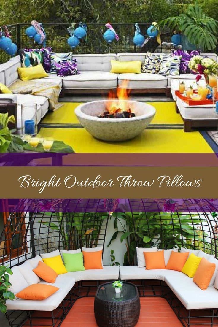 Bright Outdoor Throw Pillows Drastically elevate your space by picking trendy, cute and stylish outdoor throw pillows. You can get all kinds patio, porch and yard decorating ideas by just picking some pretty plush accent pillows. You will love just how many fabrics, patterns and materials to pick from. It does not matter if you have a rustic, modern, Victorian or cottage themed home. You will find great pillows for decorating your outdoor space.