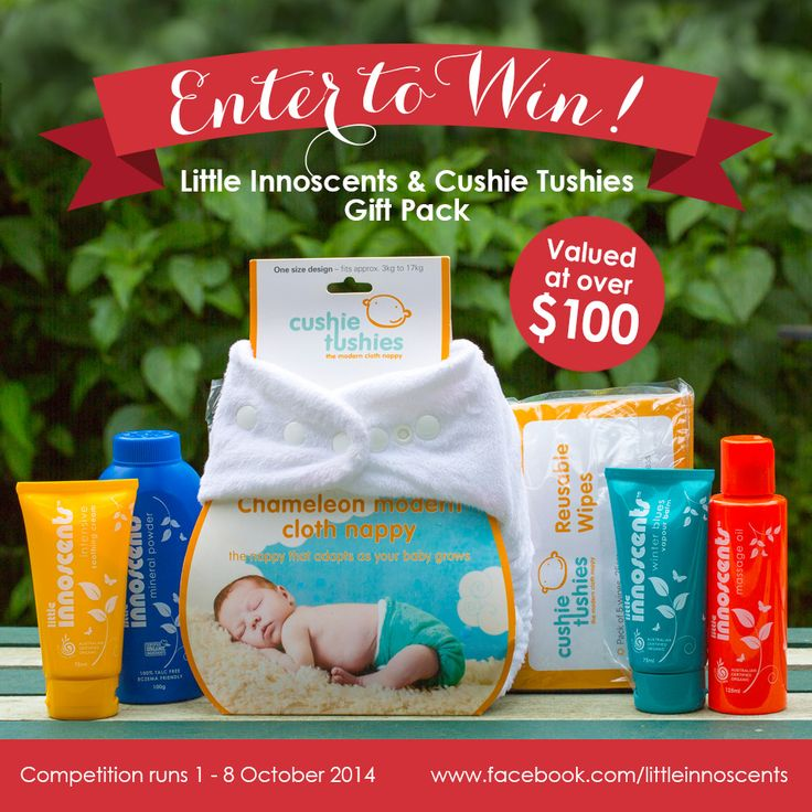Win a Little Innoscents & Cushie Tushies gift pack valued at over $100!    Competition runs until 8th October 2014.  Please read terms and conditions on our blog.  #competition #win