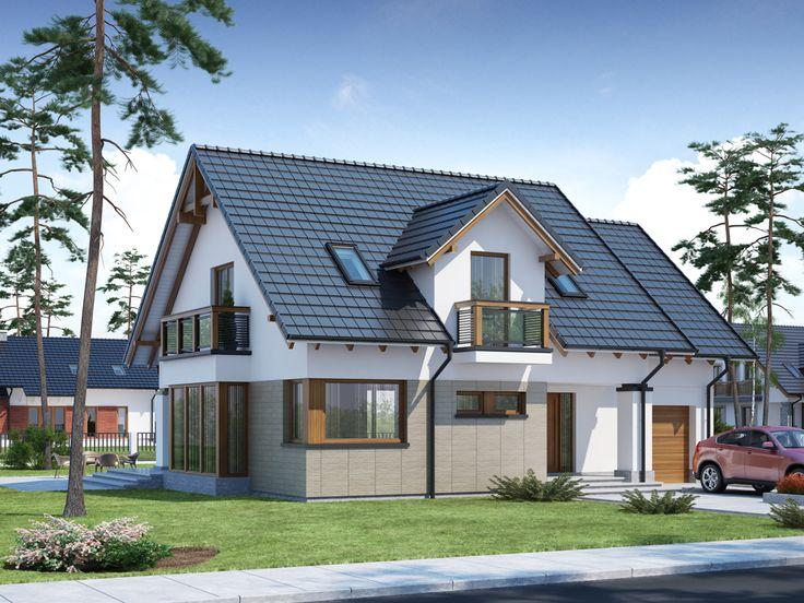 Dom posiada widoczny podział na strefy: dzienną, gospodarczą oraz nocną.