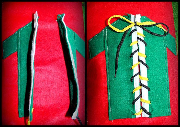 -> šněrování + zavazování tkaničky (je velmi praktické zvolit každou tkaničku jiné barvy - šněrování i samotná klička na konci je tak pro děti mnohem přehlednější)