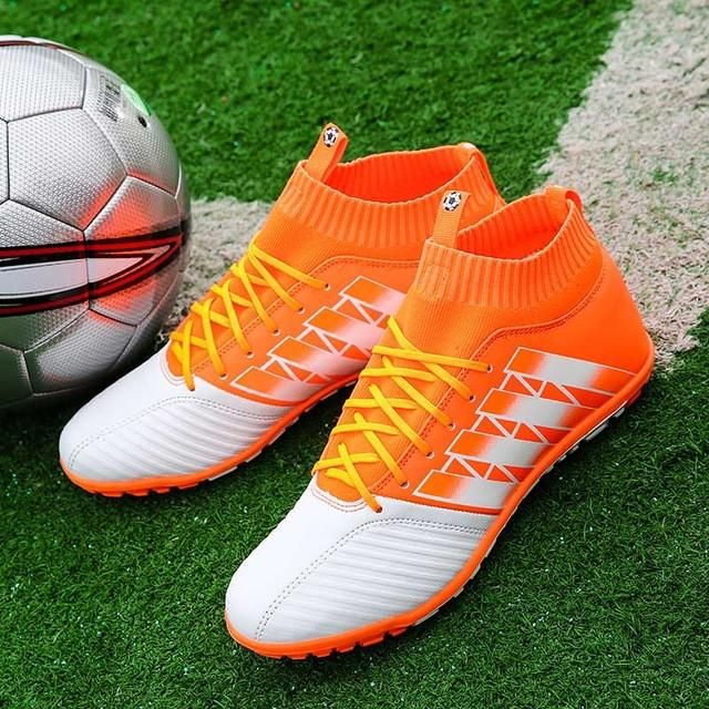 Aptesol Brand 2017 TF Football Shoes High Ankle Mens Kids Training Soccer Boots Non-slip Soccer Shoes High Top Soccer Cleats