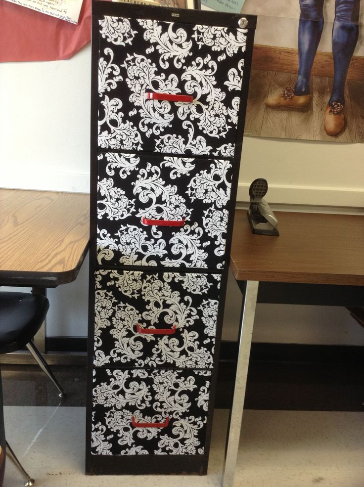 Took my file cabinet from drab to fab! Well, almost...