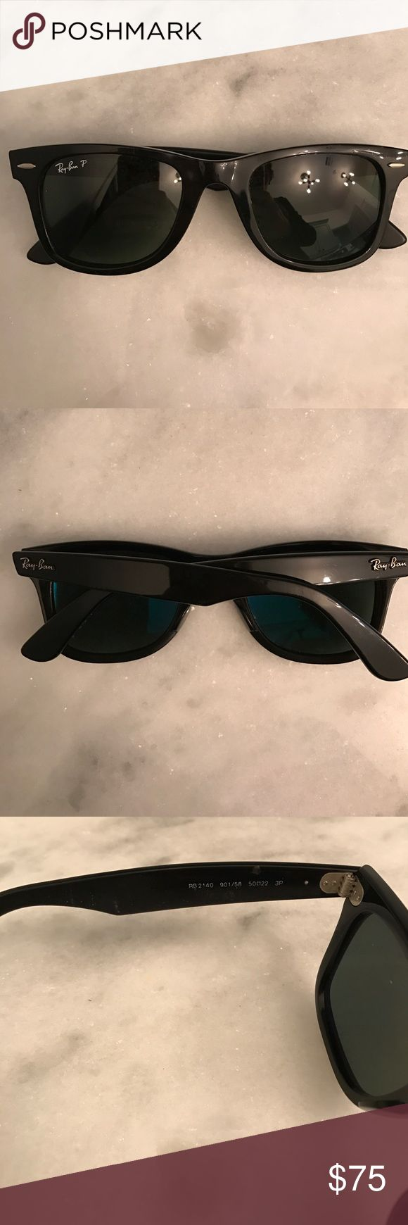 Ray Ban wayfarer Affluent been worn. Look brand new. Black color. Polarized lenses so I'm selling them for a little bit more. They are men's but can we worn by male or female! Ray-Ban Accessories Sunglasses
