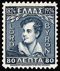 Lord Byron, stamp, Greece, where he is still celebrated as a national hero.