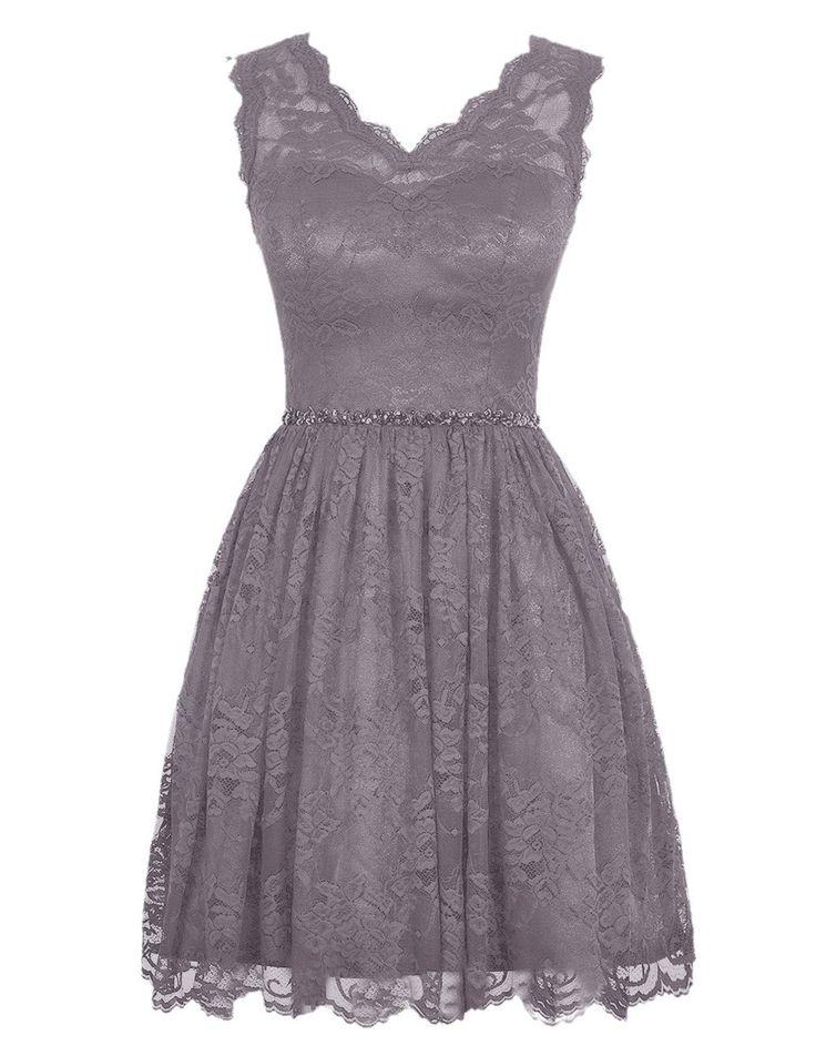 Diyouth Elegant Short V Neck Lace Casual Party Cocktail Bridesmaid Dress | Amazon.com