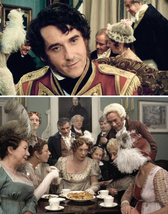 """Pride and Prejudice (1995) Starring: Adrian Lukis as Mr. Wickham, Lucy Davis as Maria Lucas, Alison Steadman as Mrs. Bennet. – """"Thank you, but it is not for me to be driven away by Mr. Darcy. If he wishes to avoid seeing me, he must leave. We are not on friendly terms but I have no reason to avoid him but one. He's done me great wrong."""" ~ Mr. Wickham."""