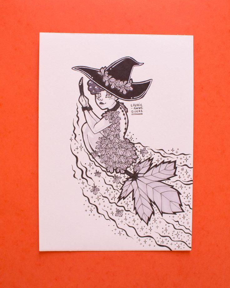 Illustration originale réalisée au feutre à alcool avec différentes teintes de gris et du noir.  Cette illustration a été crée à l'occasion du challenge Inktober de 2017.  Format A5 : 14,8 x 21cm Papier épais de 180g.
