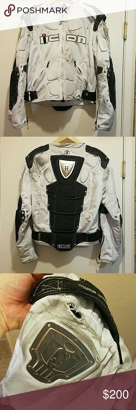 Icon motorcycle jacket Breathable icon motorcycle jacket torn on one shoulder. ICON Jackets & Coats Performance Jackets