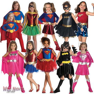 Girls superhero fancy dress costume kids