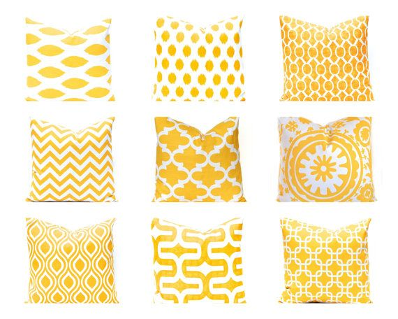 Yellow Pillow Covers, Euro Sham Decorative Throw Pillow Cover One 24 x 24 Pillows - Yellow Chevron, Yellow Cushion Covers