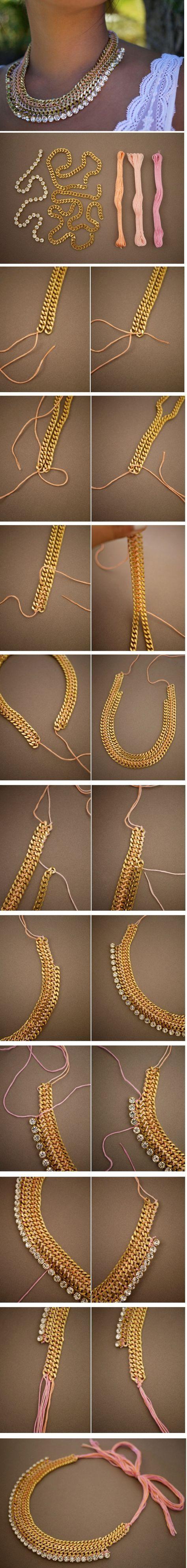 DIY collar hecho con hilos, cadenas y pedrerías