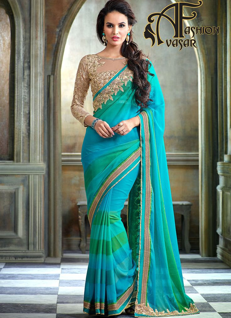 Pure Chiffon Sarees Online Shopping India Green Blue Color.Unique elegance can come out from your dressing trend with this Emerald & Aqua Blue Chiffon Saree