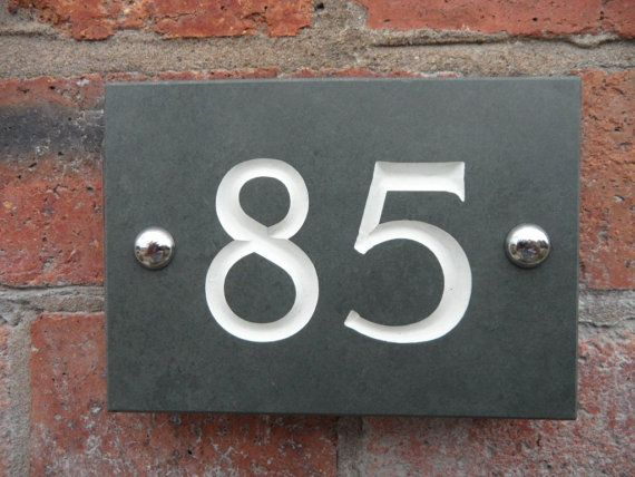 Engraved Slate House Number by AtlanticHardware on Etsy, £18.00