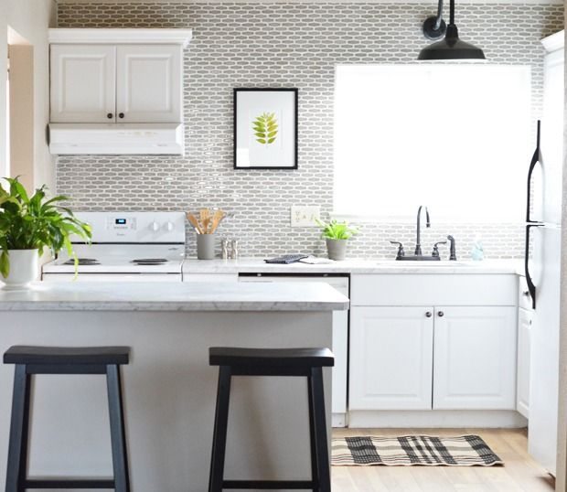 Budget Kitchen Makeover Centsational Girl Featuring Contemporary Edge Formica Laminate 6696 Carrara Bianco Countertop