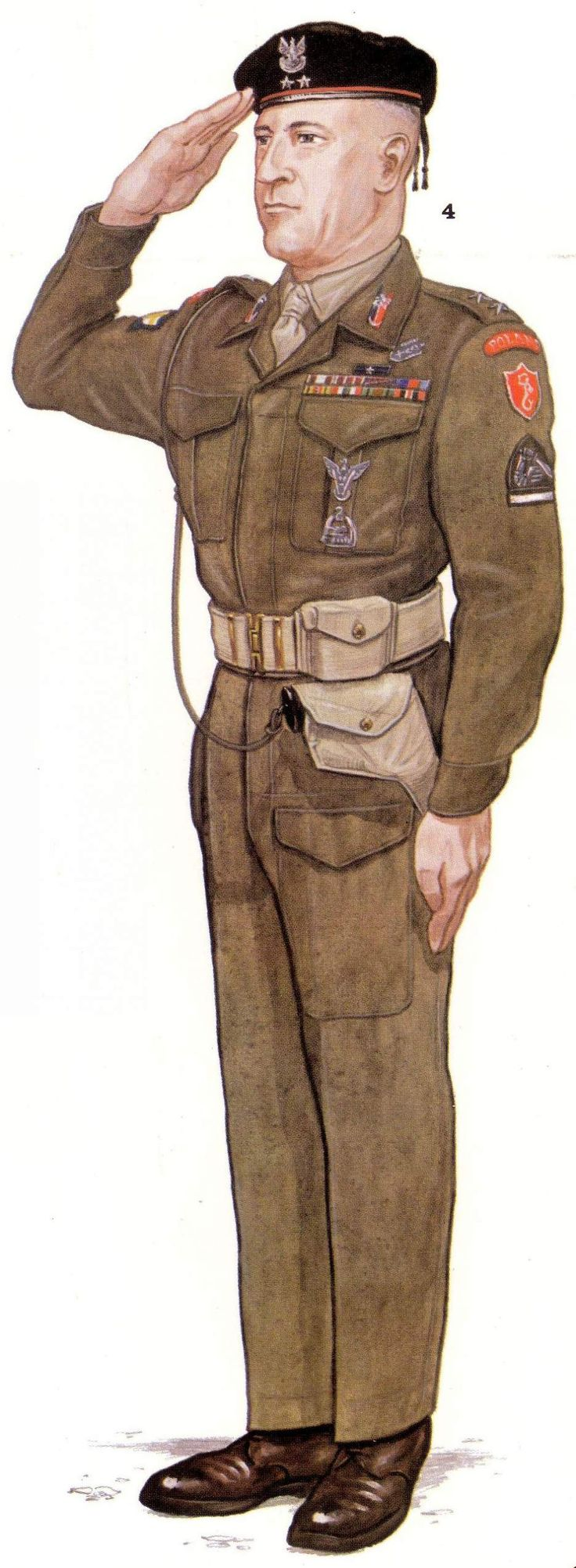 polish carpathian lancers battledress - officer, Italy summer 1946 - pin by Paolo Marzioli