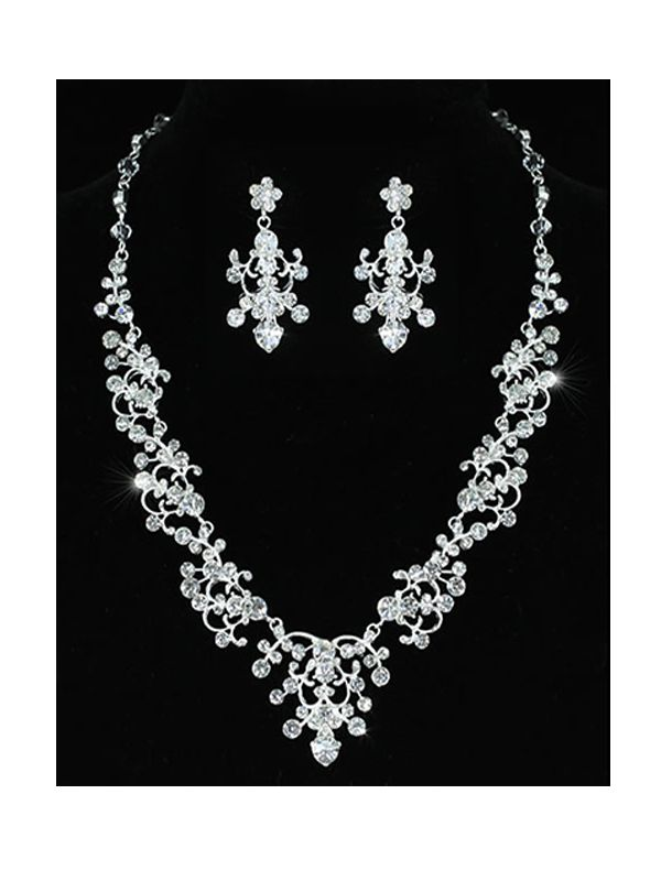 Grace - Vintage Style Clear Crystal Necklace with Chandelier drop Earrings - http://lily316.com.au/shop/bridal/grace-classic-vintage-style-crystal-bridal-set/