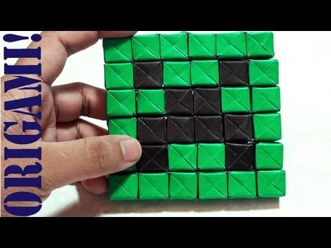 Minecraft Mini Creeper Part 1 - Face (Sonobe): Daily Origami - 542 [TCGames HD]