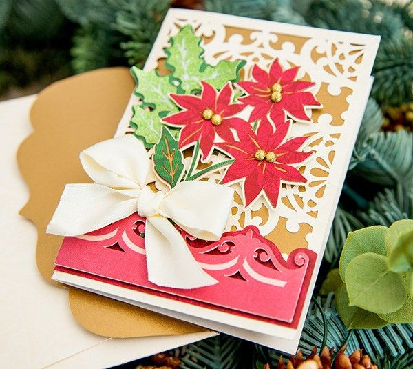 This elegant card is a beautiful way to share Christmas wishes with someone you love.   Make it now: https://us.cricut.com/design/?utm_content=buffer07d9b&utm_medium=social&utm_source=pinterest.com&utm_campaign=buffer#/landing/project-detail/9515