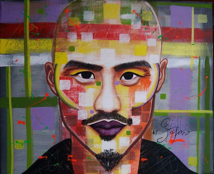 Samurai by STEFANO acrylic on canvas(50x60cm) fashion art 2016 model:Paolo Roldan fine ,acrylic,portrait,painting,painter,artist,supermodel,man,fashion,fashionart,facesartist