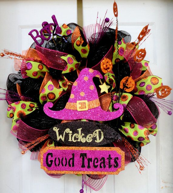 Wicked Good Treats Halloween Deco Mesh Wreath  by SparkleWithStyle, $95.00