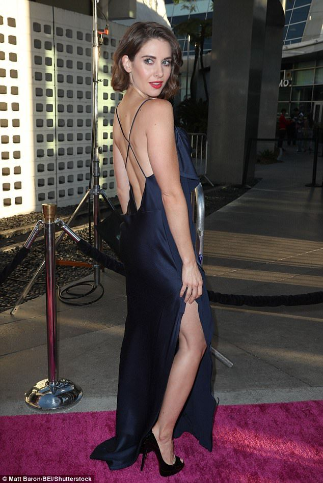 Stunner: The 34-year-old actress looked absolutely fantastic in a navy blue number featuring a backless design