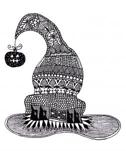 A Zentangle Drawing Representing A Witch Hat Halloween Coloring