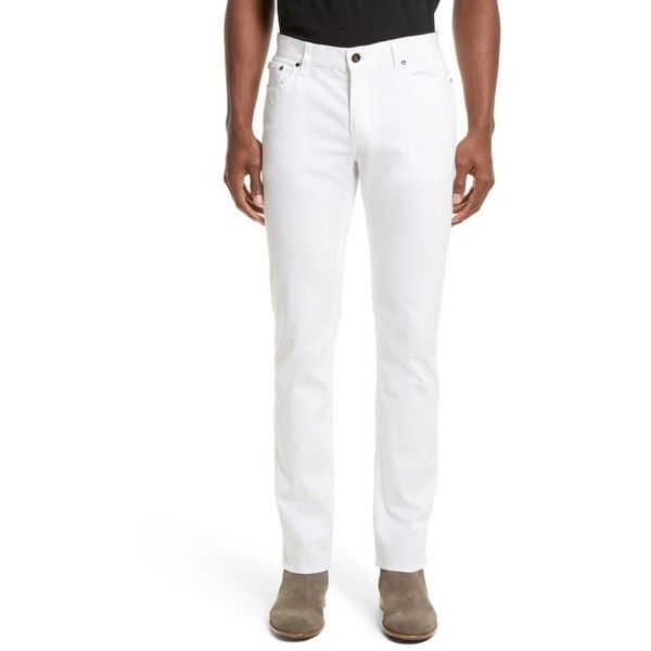 Men's John Varvatos Collection Slim Fit Five Pocket Pants ($298) ❤ liked on Polyvore featuring men's fashion, men's clothing, men's pants, men's casual pants, white, mens pants, mens slim pants, mens white pants, men's 5 pocket pants and men's casual cotton pants