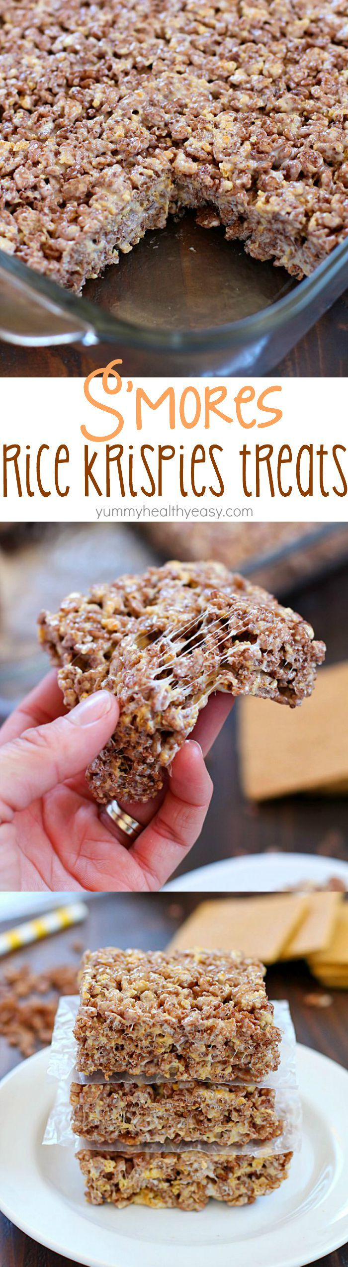 Take those boring rice krispies treats to a whole new level and make them into S'mores Rice Krispies Treats! With marshmallow, graham crackers and Cocoa Krispies, these S'mores Rice Krispies Treats are the BOMB!