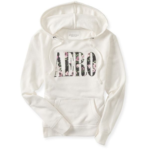 Aero Floral Sequin Popover Hoodie (32 CAD) ❤ liked on Polyvore featuring tops, hoodies, winter white, white hoodie, graphic hoodie, hooded pullover, lightweight hoodie y sweatshirts hoodies