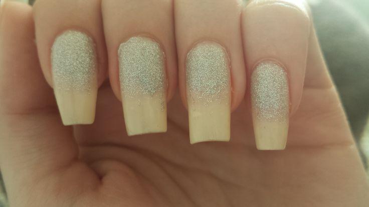 White sparkling nails