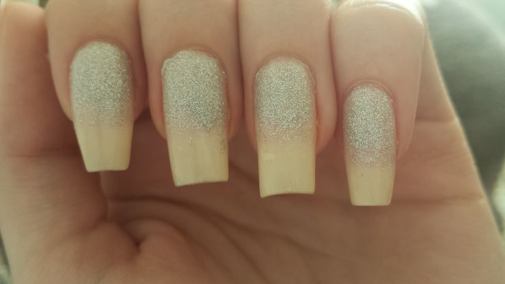 White sparkling nails