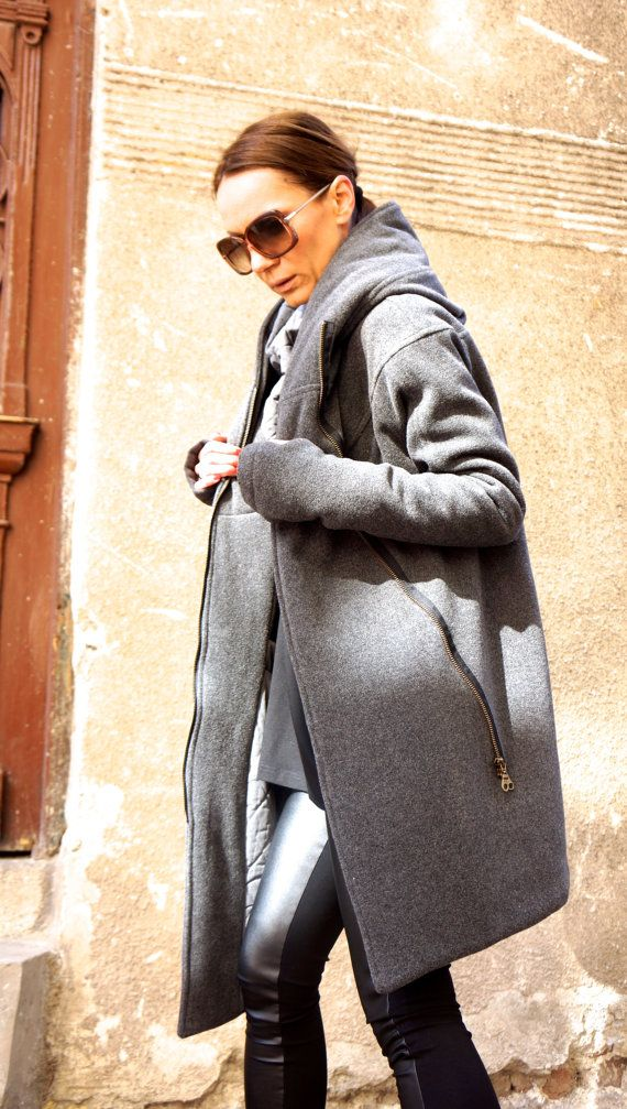 NEW Extra Warm Qilted Winter Asymmetric Extravagant Grey Hooded Coat/ Wool/Cashmere Blend/ Double Zipper/Large Pocket Coat by AAKASHA A07198