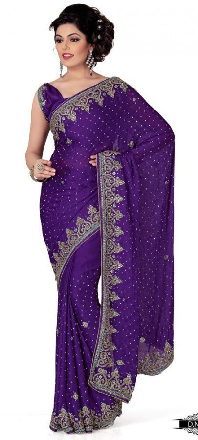 Dark Purple Color Satin Chhiffon Designer Saree TYS130. Sale: $197.60
