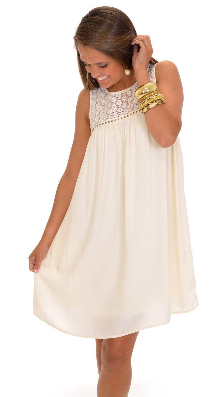 Darling dress, swing fit, unique crochet, distressed studs...$46 at shopbluedoor.com!