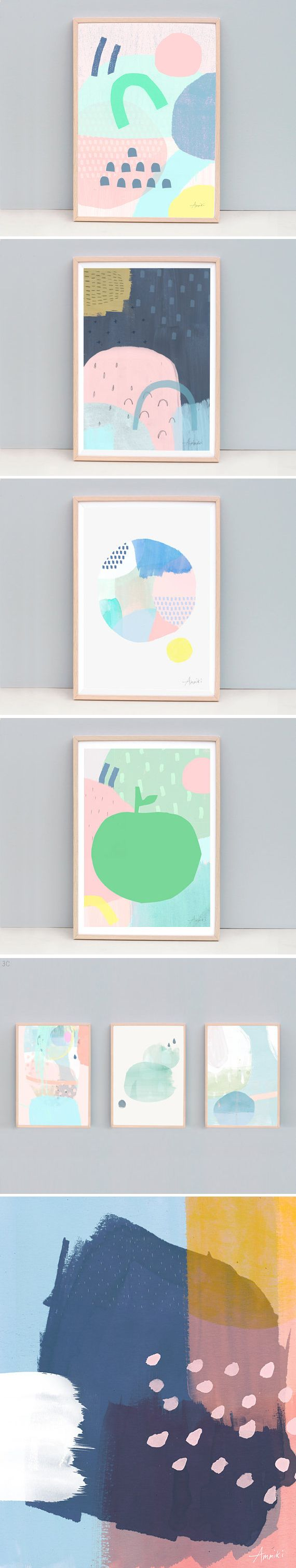 Large Minimal Modern Art, Nursery Art, Minimalist Art Print, Pastel Color Art, Abstract Painting, Contemporary Print, Spring Color Art | AMMIKI