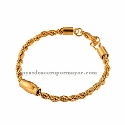pulsera de cadena cruzadas dorada de acero inoxidable venta al por mayor