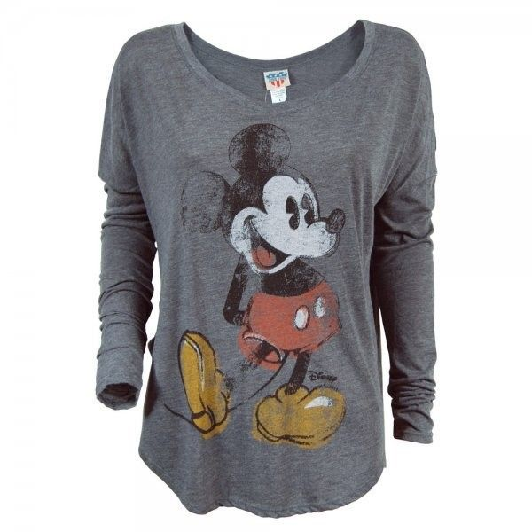 Junk Food Mickey Mouse Long Sleeve T Shirt Charcoal ❤ liked on Polyvore