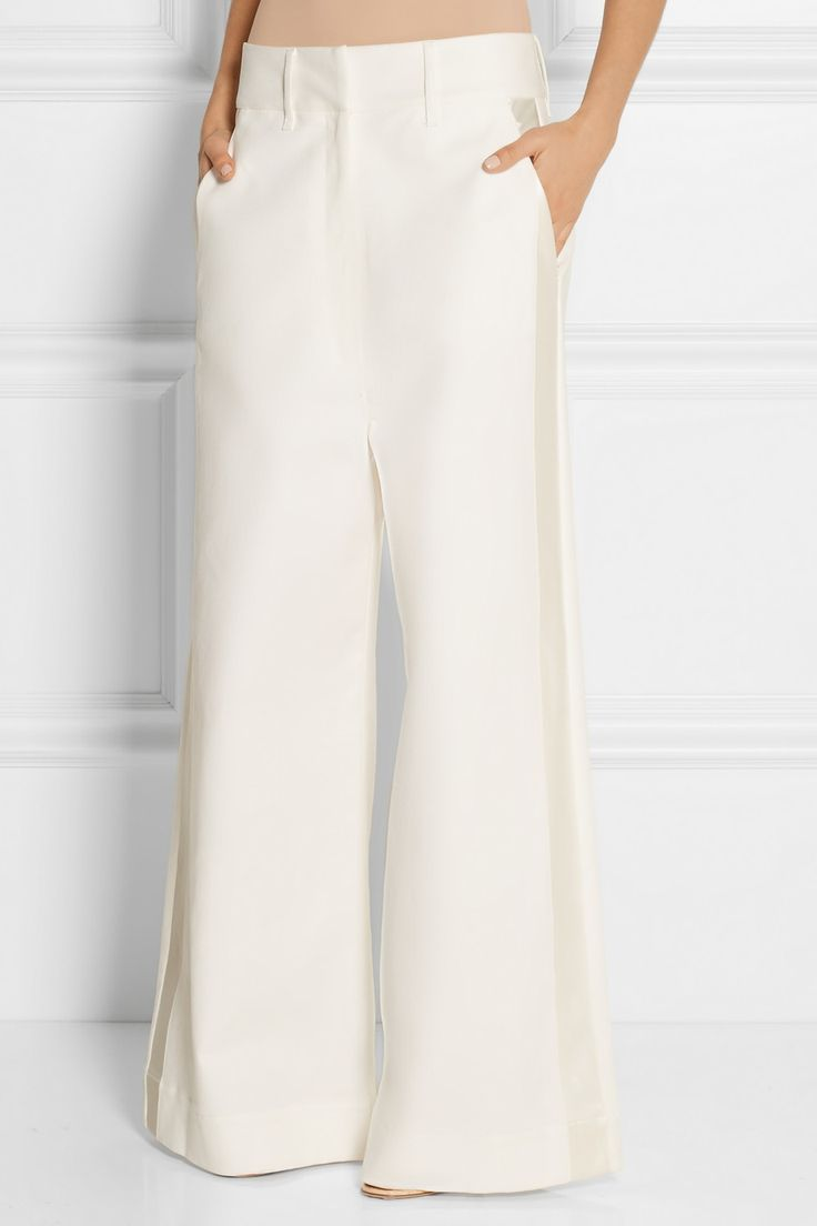 Maison Martin Margiela | Satin-trimmed stretch-cotton twill wide-leg pants | NET-A-PORTER.COM