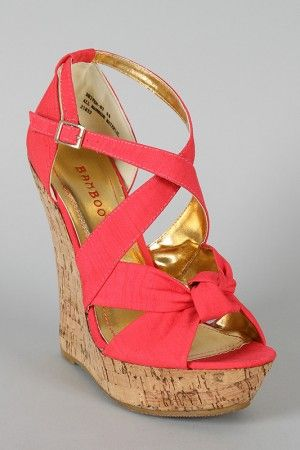 Bamboo Driven-83 Knotted Open Toe Wedge $30.90 | See more about Wedges, Coral Wedges and Coral.