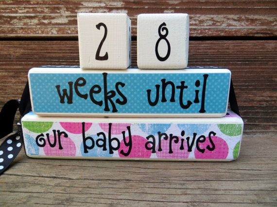 Baby Countdown Blocks Grandparent by DaisyBlossomCreation on Etsy