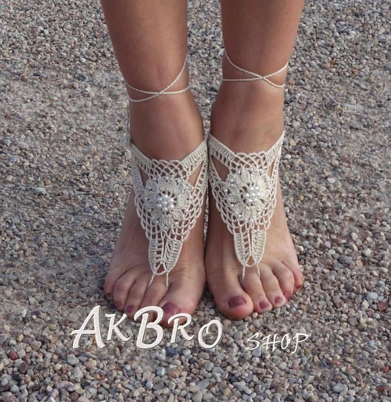 Barefoot sandals Cream gouden barefoot sandals Beaded sandalen