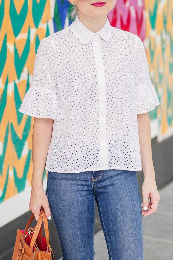 White Eyelet Bell Sleeve Shirt For Summer - Poor Little It Girl